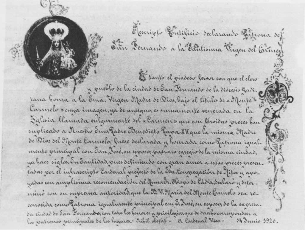 Nombramiento de Patrona de San Fernando