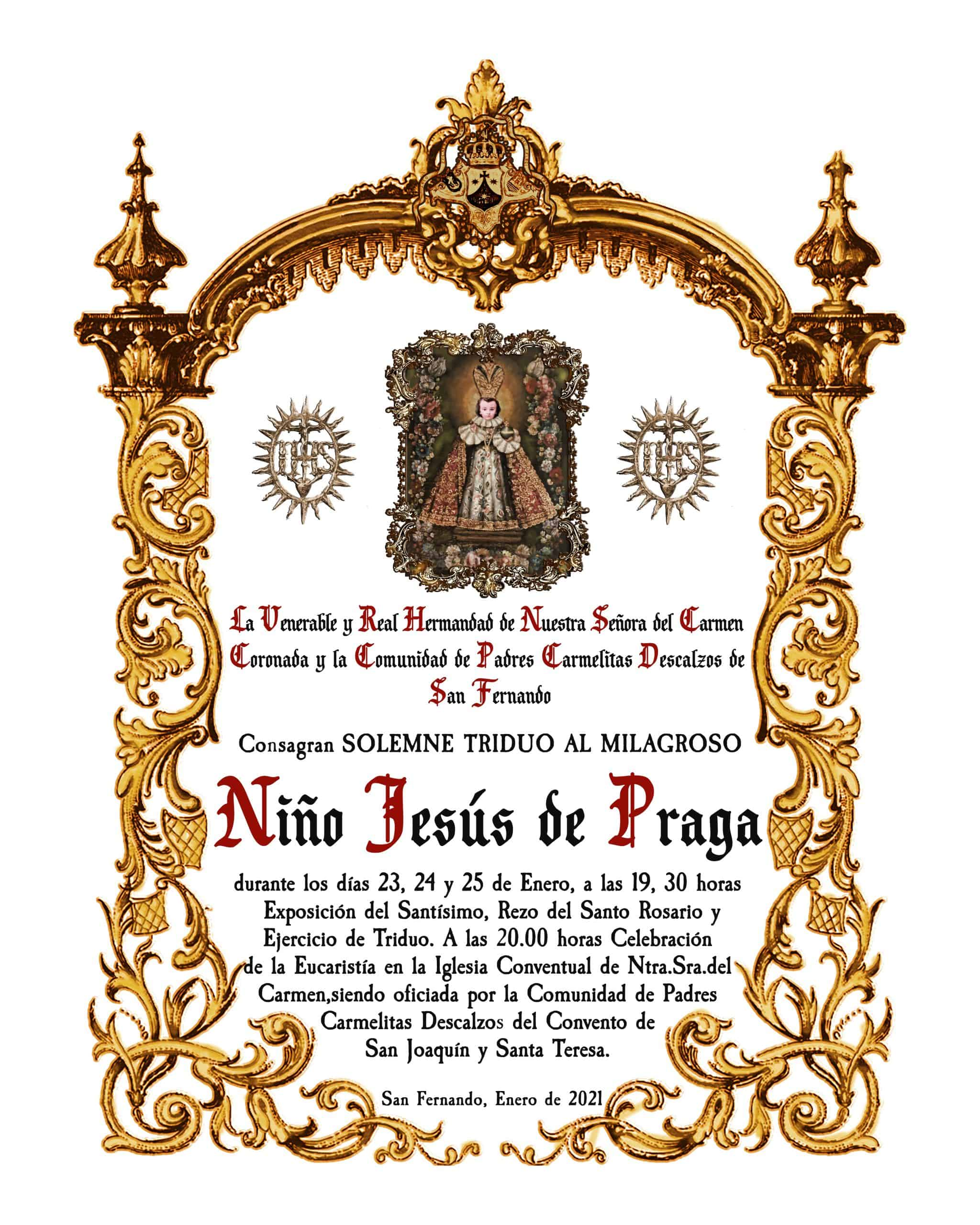 Cartel Triduo Niño Jesús de Praga - Enero 2021